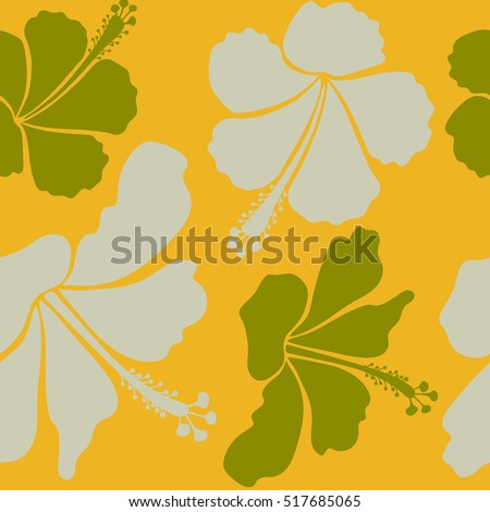 Vector seamless pattern of tropical hibiscus flowers in green, yellow and neutral colors with watercolor effect.