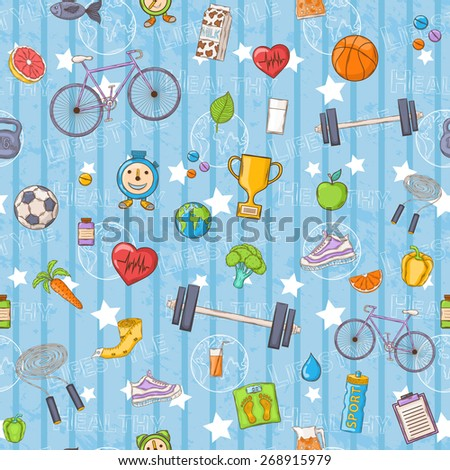 Vector seamless pattern on a Healthy lifestyle theme with bicycle,carrot, orange,grapefruit,juice,milk,apple,pepper,jump rope,sneakers,fish,vitamins,measuring tape,cup,leaf,earth on a blue background - stock vector