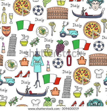 Vector seamless pattern on the theme of Italy. Pattern with symbols of Italy - pizza, olive oil, wine, Colosseum, fashion, pasta. Background for use in design, web site, packing, textile, fabric - stock vector
