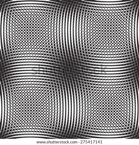 Vector seamless pattern, optical illusion geometric background Black and white