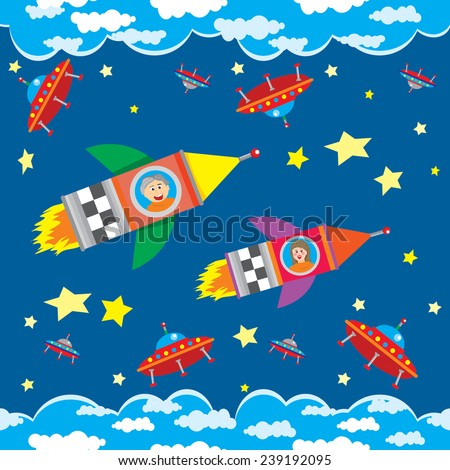 Vector seamless pattern or illustration on a dark blue  background. Boy and girl flying a rocket near the flying saucers. - stock vector
