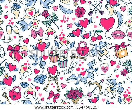 Vector seamless pattern. Pattern for St. Valentine. White background. Many cartoon elements on white background. Cute symbols of love and marriage for stuff design