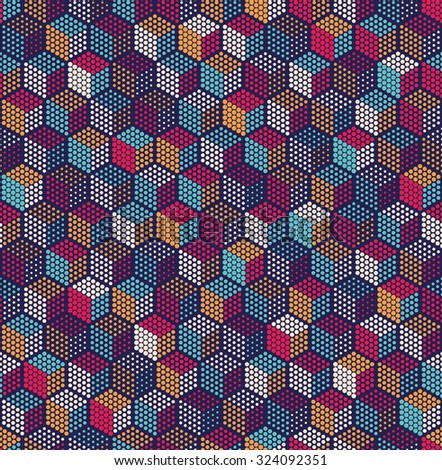 Vector seamless pattern.Repeating geometric background with dots hexagons cube.
