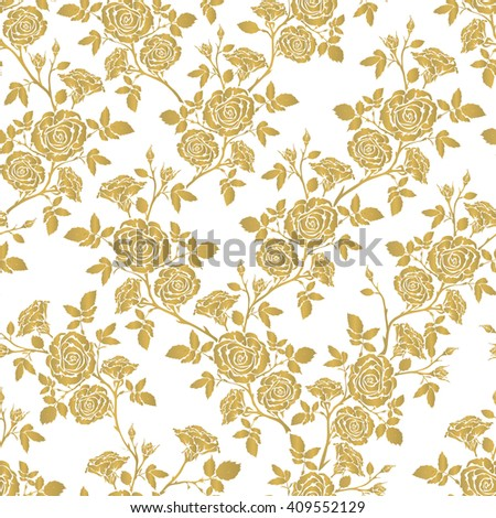 Vector seamless pattern - romantic gold roses. For printing on fabric, scrapbooking, gift wrap. - stock vector