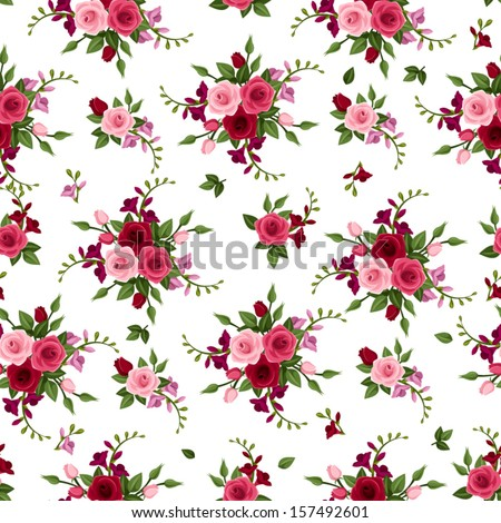 Vector seamless pattern roses and freesia.  - stock vector