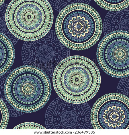 Vector Seamless Pattern rounded ornament, fully editable eps 10 file with clipping mask and seamless pattern in swatch menu - stock vector