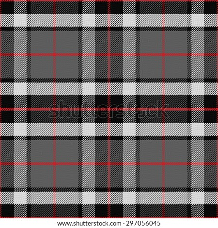 vector seamless pattern Scottish tartan Tompson, black, gray and white - stock vector