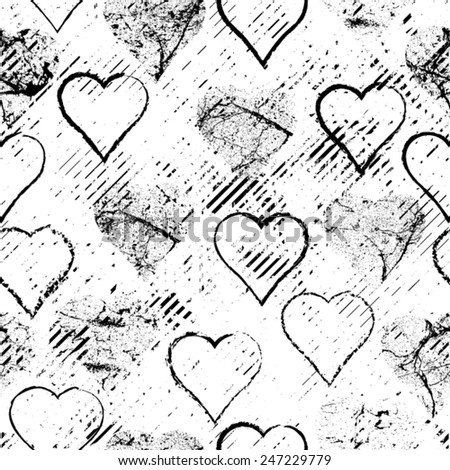 Vector Seamless Pattern . Seamless Pattern with Grunge Hearts , Ink Blots And Brush Strokes . Valentine's Day Background. Love Background.  Diagonal Stripes.  - stock vector