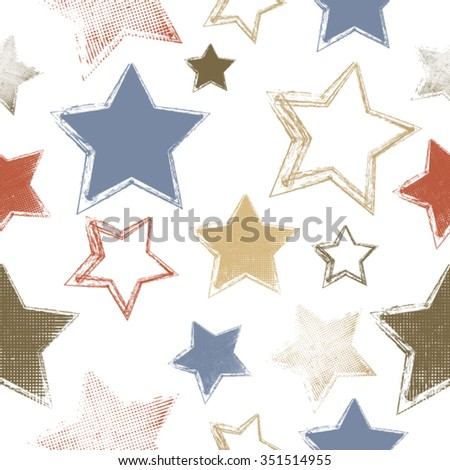 Vector Seamless Pattern . Seamless Texture . Star Geometrical Shapes in Grunge Style . Vintage Background. - stock vector