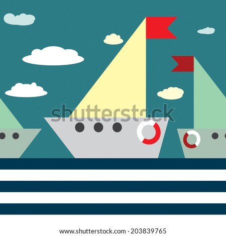 vector seamless pattern ship and sea.