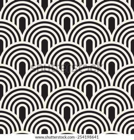Vector seamless pattern. Stylish linear ornament. Geometric striped background with arches. Regular monochrome texture. Grid from concentric semicircles