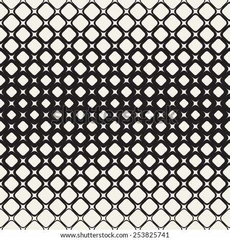 Vector seamless pattern. Stylish monochrome texture. Geometric structure from unequal sized elements. Different size changes towards the center - stock vector