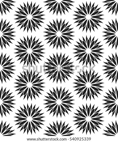 Vector seamless pattern. Stylish textile print with abstract black flowers. Oriental floral fabric background. Hexagonal swatch.