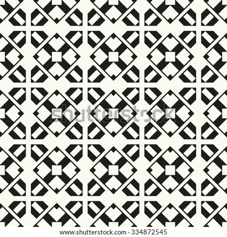 Vector seamless pattern. Stylish textile print with geometric complex grid. Monochrome fabric background. - stock vector