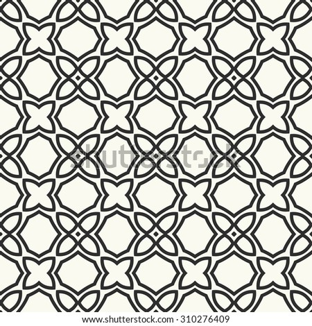 Vector seamless pattern. Stylish textile print with geometric ethnic design. Black and white fabric background.