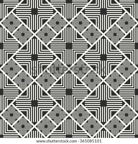 Vector seamless pattern. Stylish textile print with geometric ethnic design. Black and white fabric background. Lines and crosses. - stock vector