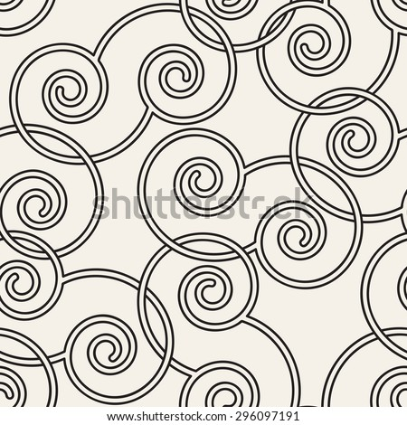 Vector seamless pattern. Stylish texture. Endless monochrome background. Simple grid with linear weaved scrolls. - stock vector