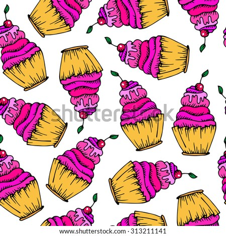 vector seamless pattern, sweetie cake with a ripe red cherry on a white background - stock vector