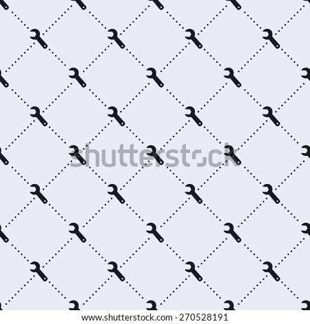 Vector seamless pattern. Tiled square background with monochrome wrench icon and dotted lines. - stock vector