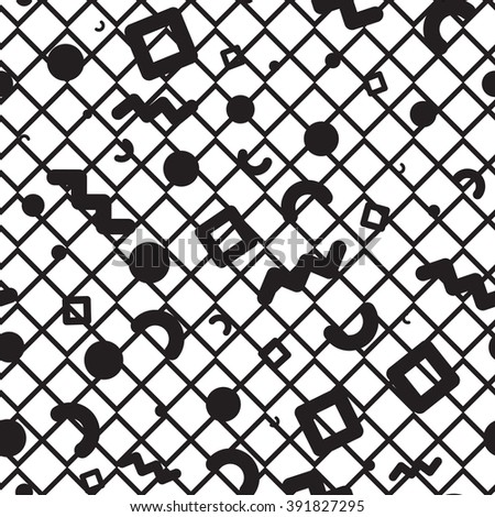 Vector seamless pattern. Universal repeating geometric abstract figure in black and white. Wallpaper, wrapping paper, interior, Memphis, retro 80s, 90s style  - stock vector