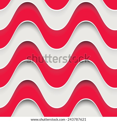 Vector seamless pattern. Wavy volume background. Stylish texture with 3D effect - stock vector