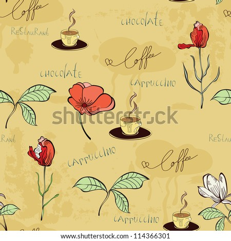 Vector seamless pattern with a cup of coffee and flowers - stock vector