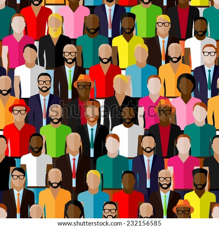 vector seamless pattern with a large group of guys and men. flat  illustration of male community. - stock vector