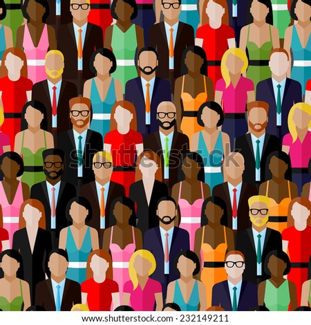 vector seamless pattern with a large group of men and women. flat  illustration of society members. population. business elite community - stock vector