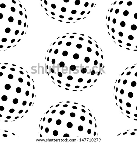 Vector seamless pattern with abstract dotted spheres.  - stock vector