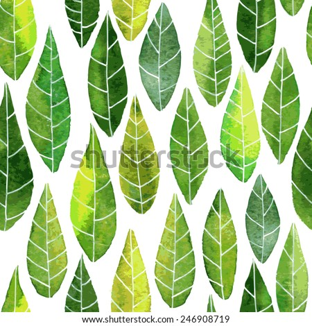 vector seamless pattern with abstract green leaves with streaks drawing by watercolor, hand drawn vector elements - stock vector