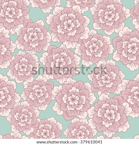 Vector seamless pattern with abstract hand drawn  blooming flowers