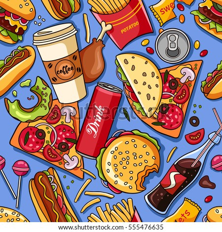 stock vector vector seamless pattern with american fast food fun and bright colorful background wallpaper with 555476635 - Каталог — Фотообои «Еда, фрукты, для кухни»