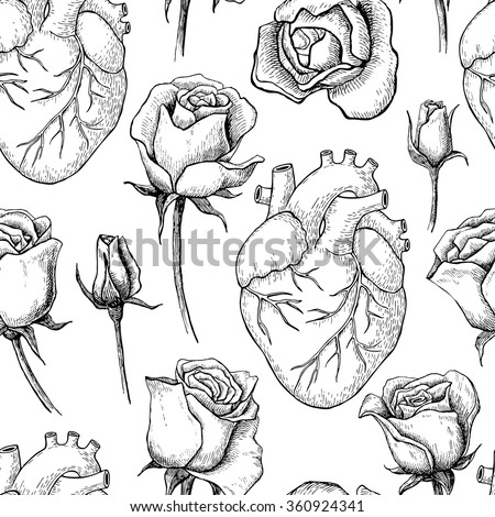 Vector seamless pattern with anatomical human heart and botanical roses. Hand drawn illustrations - stock vector
