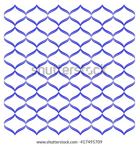 Vector seamless pattern with art ornament. Elements for design . Ornamental lace tracery background. Endless texture.Blue white. - stock vector