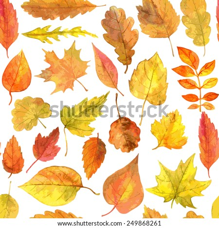 vector seamless pattern with autumn leaves drawing by watercolor, hand drawn vector elements - stock vector
