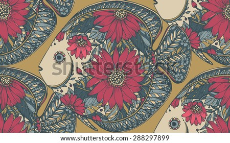 Vector seamless pattern with beautiful hand drawn ornamental floral fishes in vintage style - stock vector