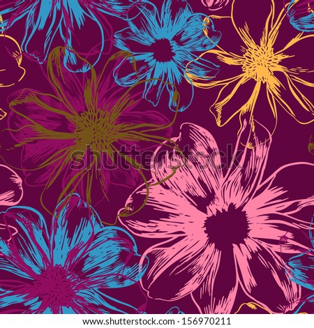Vector seamless pattern with beauty flowers - stock vector