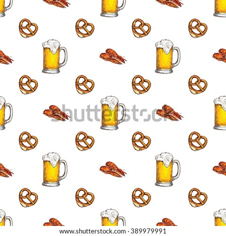 Vector seamless pattern with beer - stock vector