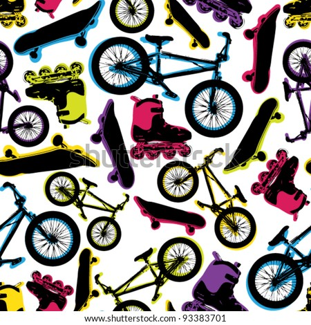 Vector seamless pattern with bicycles,skateboards and rollers. - stock vector