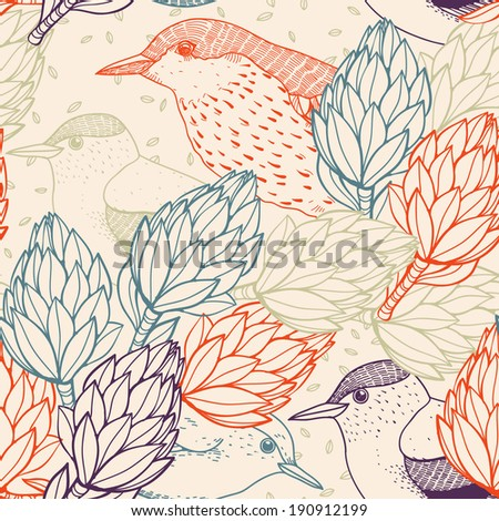 vector seamless pattern with birds and abstract plants