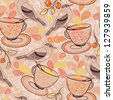 vector seamless pattern with birds and  tea cups - stock vector