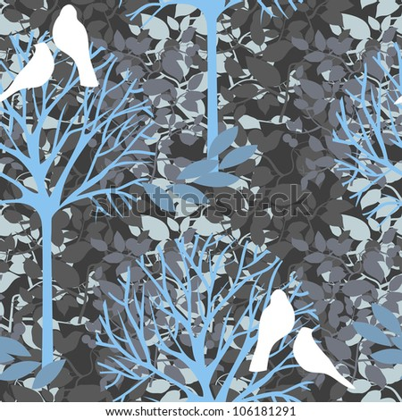 vector seamless pattern with birds and  trees - stock vector