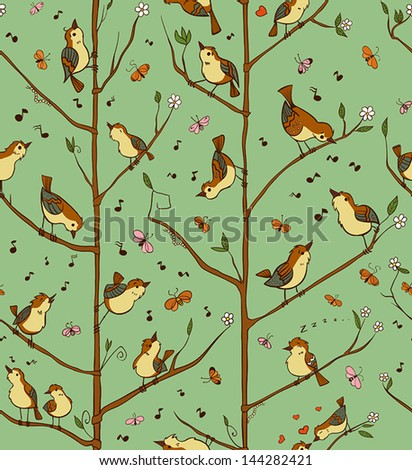 Vector seamless pattern with birds singing on the branches of trees