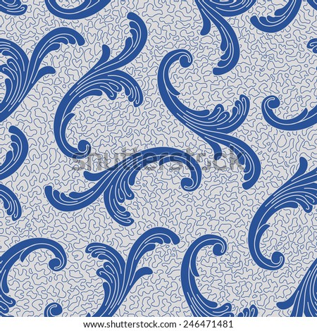 Vector seamless pattern with  blue Baroque curled floral elements  on light grey shabby background  - stock vector