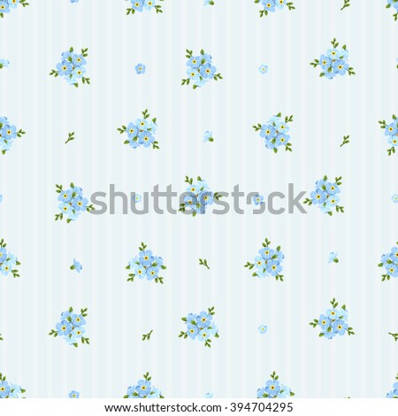 Vector seamless pattern with blue forget-me-not flowers on a striped background.