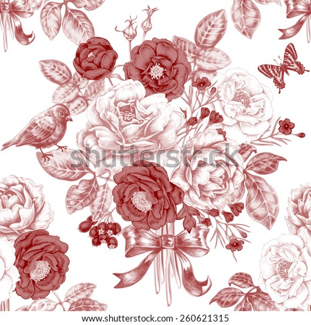 Vector seamless pattern with bouquets of roses, butterflies and birds. Design for fabrics, textiles, paper, wallpaper, web. Floral ornament. Victorian style. Vintage. - stock vector