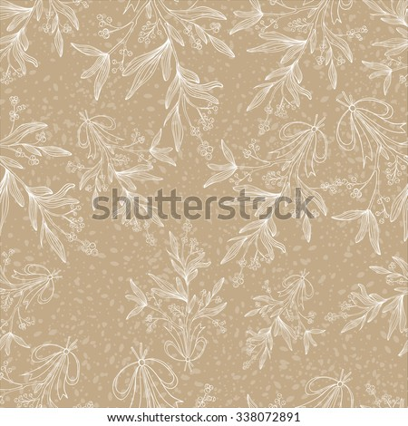 Vector seamless pattern with branches of mistletoe. For fabric, wrapping paper, print and web projects. Greeting card design. Vector mistletoe. Winter template. - stock vector