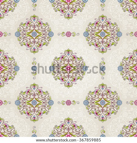 Vector seamless pattern with bright floral ornament. Vintage design element in Eastern style. Ornamental lace tracery. Ornate decor for wallpaper. Traditional arabic decor on beige background. - stock vector