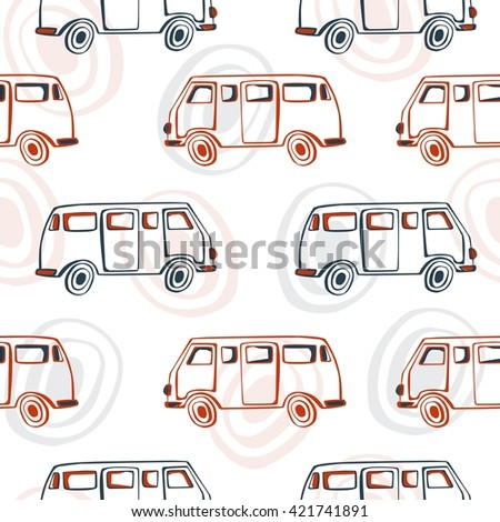 Vector seamless pattern with buses and circles on white background. Simple hand drawn transport doodles in dark blue and orange colors.  - stock vector