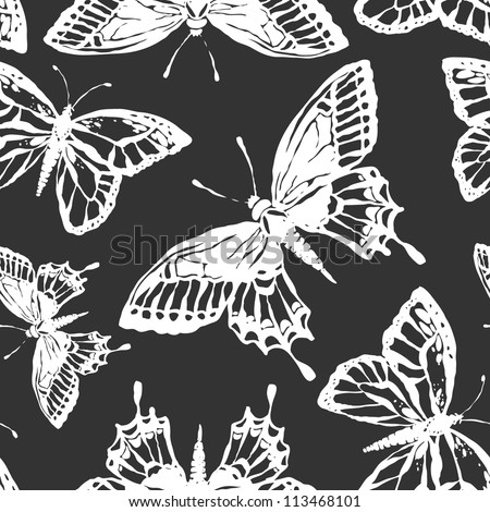 Vector seamless pattern with butterfles in black and white - stock vector